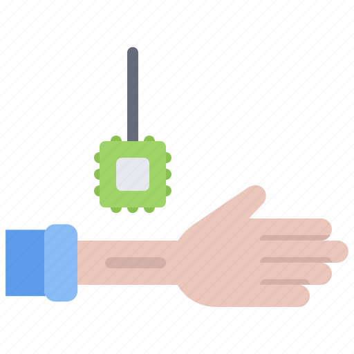 chip, device, gadget, hand, implant, smart, technology icon