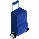 bag, briefcase, luggage, rolling, suitcase, trolley icon