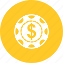 casino, chip, dollar, gambling, luck, poker, win icon