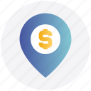 direction, dollar sign, location, map, map location, map pin, pin icon