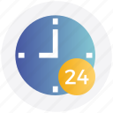 24hours, all time open, clock, customers, service, support, time icon