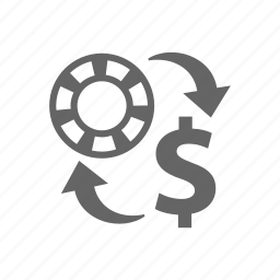 casino, chip, chips, convert, currency, dollar sign, exchange, money icon
