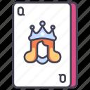 blackjack, card, casino, gambling, poker, queen icon