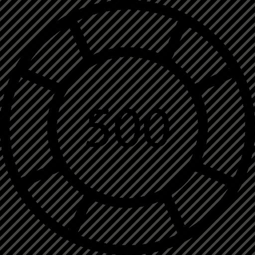 casino, five, hundred, tally, token icon
