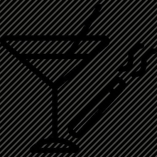 cigarette, glass, martini icon