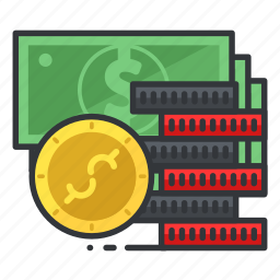 chips, coin, dollar, gambling, money, payment icon