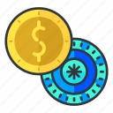 chip, coin, dollar, exchange, gambling, money icon