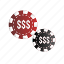 bet, casino tokens, chip, dollar symbol, gambling icon
