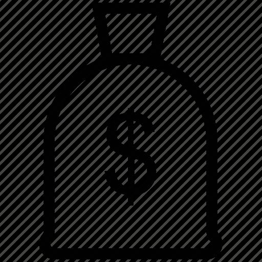 dollar sack, money bag, money pouch, money sack, pouch, sack icon