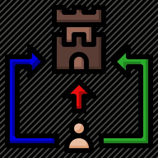 arrow, game, plan, strategy, train icon