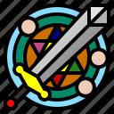 antivirus, game, rpg, shield, sword icon