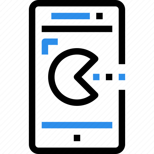 device, entertainment, game, mobile, pacman, smart phone icon