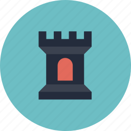 building, castle, defense, design, fortress, game, gaming, level, medieval, play, retro, tower icon