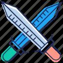 crossing sword, sword, sword fight, war blade, weapon icon