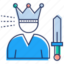 champion, king, man with crown, monarchical, victory, winner icon