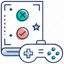 game manual, game rules, game scenario, play rules, strategy icon