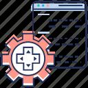 web coding, web configuration, web development, web setting, website setting icon