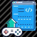 computer game, game controller, game publishing, uplink, uploading icon