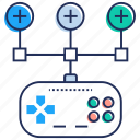 game controller, game development, game testing, joystick, strategy icon