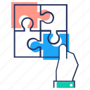 jigsaw, problem solving, puzzle, puzzle parts, puzzle pieces, strategy icon