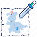 destination, location, map, pacemark, treasure map icon