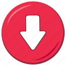 arrow, at the bottom, below, down, downwards, ui icon