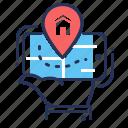 house, location, mobile app, navigator icon