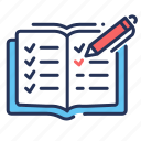 notebook, notes, pen, player registration icon