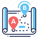 geotags, locations, route, way icon
