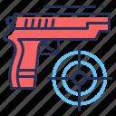 game, gun, shooter, target icon