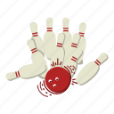 bowling, bowling pins, fun, games, spare, sports, strike icon