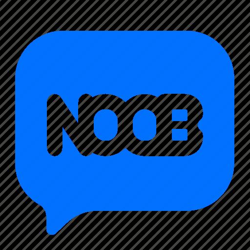 bubble, noob, text icon