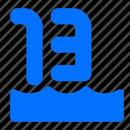 distance, number, thirteen, water icon