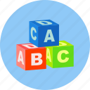 abc, alphabet, cubes, education, learning, student, toy icon