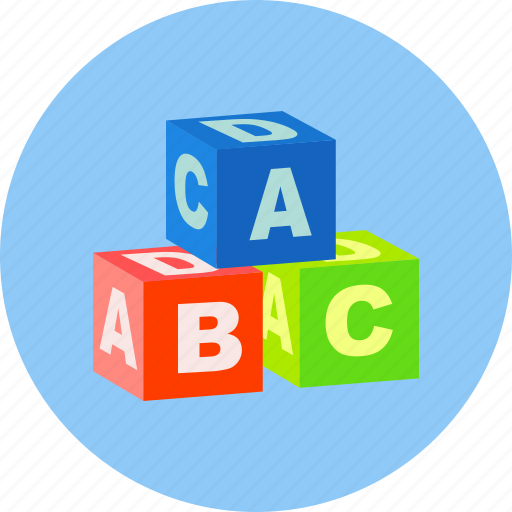abc, alphabet, cubes, education, learning, student, toy icon