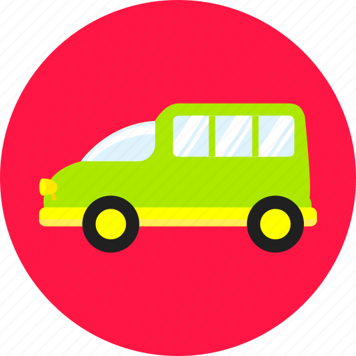car, green, school bus, toy, transport, van, vehicle icon