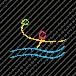 game, polo, sports, through, water icon