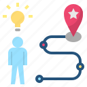 goals, idea, location, motivate, strategy icon