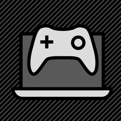 entertainment, freetime, fun, game, gaming, laptop icon
