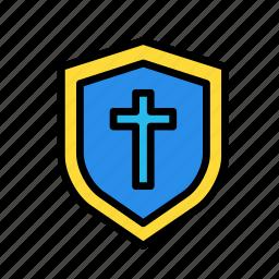 entertainment, freetime, fun, gaming, protection, securitycross, shield icon
