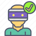 avatar, checkmark, glasses, user, virtual