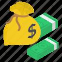 asset, banknotes, capital, cash, financial sack, money sack icon