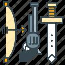 ammunition, arm, armor, gun, sword, weapon, weapons icon