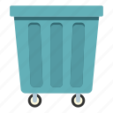 container, garbage, outdoor, trash, wheel, wheeled, wheelie icon