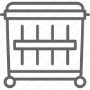 bin, can, dumpster, garbage, line, recycling, trash icon