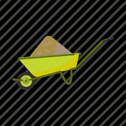 barrow, cartoon, equipment, garden, gardening, tool, wheelbarrow icon