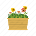 bed, blog, cartoon, flower, garden, nature, plant icon