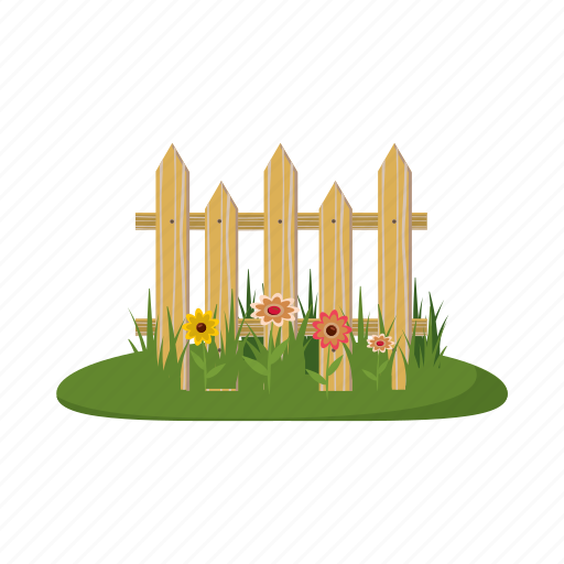 cartoon, fence, flowers, garden, nature, plant, seed icon