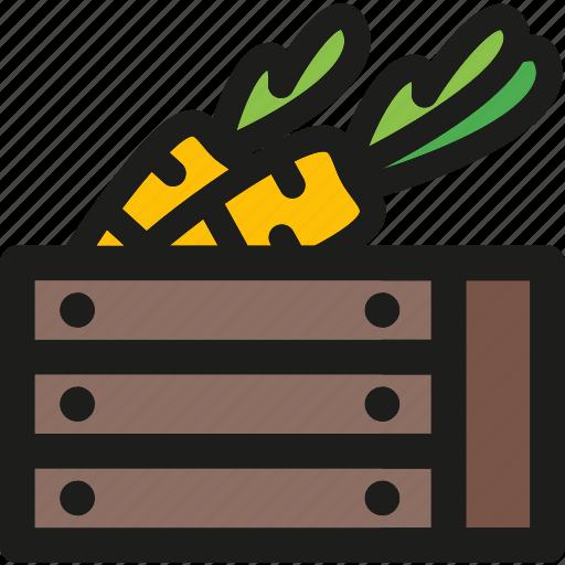 box, carrots, farm, garden, harvest, vegetable icon