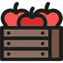 apples, box, farm, fruit, fruits, harvest icon